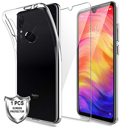 KundL LK Hülle für Xiaomi Redmi Note 7,Schlanker Weiche Flex Silikon TPU Schutzhülle Case Cover mit Panzerglas Folie[1 Stück] für Xiaomi Redmi Note 7 - Transparent