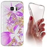 Samsung Galaxy J7 (Modell 2016) J710 Softcase Hülle Galaxy J7 (Modell 2016) J710 Cover Backkover Softcase TPU Hülle Slim Case für Samsung Galaxy J7 (Modell 2016) J710 (1000 Blume Lila Gold Weiß)