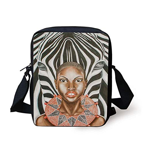 Country Decor,African Woman with Zebra Spirit Animal Mother Nature Themed Artistic Image,Black White Brown Print Kids Crossbody Messenger Bag Purse -
