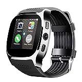 Bluetooth Smart Watch, Telefon Mate SIM FM Schrittzähler für Android IOS iPhone Samsung schwarz
