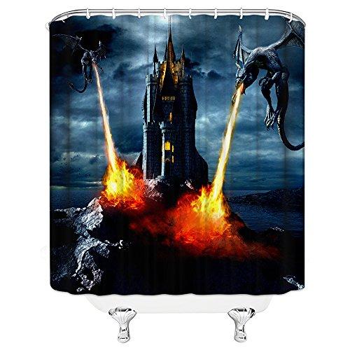 AMHNF Persönlichkeit Magic Castle Harry Potter Cool Creative Dusche Vorhänge 180cmx180cm Nicht Moldy Polyester Wasserdicht Badezimmer Vorhang (mit Haken) Modern 70 x 70 inches Multi W4553 (Dusche Vorhang Liner 180x70)