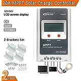 Alcoa Prime 20A LCD EPSOLAR MPPT Solar Panel Charge Controller 12V/24V Auto Z-bracket Set MT