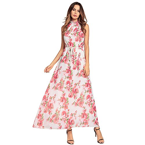 Damen Sommerkleider Blumen Maxi Kleid Ärmellos Abendkleid Strandkleid Party Chiffon Lange ()