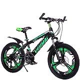 FJW Dual-Suspension-Mountainbike für Herren 20 Zoll 24 Zoll 26 Zoll Doppelscheibenbremse 21 Geschwindigkeit Shimano-Übertragung Leichte Scheibe Student Kind Pendlerstadt Fahrrad,Green,20in