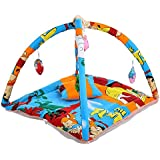 Feathers-Nature's Touch PolyCotton Mosquito Net Cum Play Gym For Baby Sky Blue & Orange(0-6 Months)
