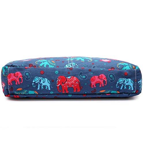 Miss Lulu Damen Elefant Leinwand Schultertasche Umhängetasche Cross Body Messenger Bag Schule Satchel Tasche Elefant Dunkelblau