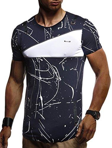 Jungen Muskel T-shirt (LEIF NELSON Herren Jungen Männer T-Shirt Hoodie Sweatshirt Crew Neck Rundhals Ausschnitt Kurzarm Longsleeve modernes, L, Blau)