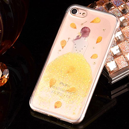 GR Weiche TPU Epoxy Dripping gepresste echte getrocknete fallende Blumen Glitter Powder Girl Schutzhülle Back Cover für iPhone 7 Plus ( Color : Yellow ) Yellow