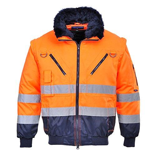 Portwest pj50onrl giacca pilot 3 in 1 ad alta visibilità, arancione/blu, l