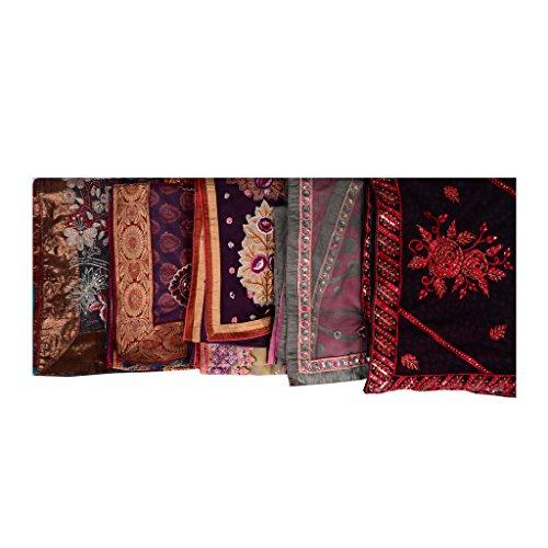 Lot Of 5 Indian Sari halb Georgette Mehrfarbig Designer Saree ethnisch Gedruckt Bestickt Saree (Ethnische Kostüme Halloween)