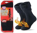 JARSEEN Warme Winter Thermosocken mit Vollplüsch und Wolle Dicke Weiche Stiefel Socken Damen Herren (Neu Schwarz, M/Herren 36-41; Damen 36-42)