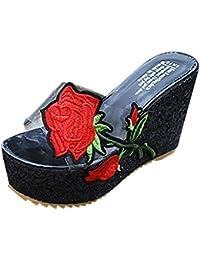 Damen rose Stickerei Dicker Hoch Absatzschuhe Amlaiworld party sommerschuhe  Classic Funkelnde Hausschuhe elegant 0272620bce