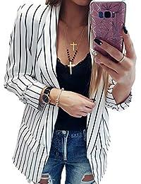 Mujer Manga Larga Blazer, Moda sin Cierre Slim Traje Chaqueta Mujeres Casual OL Oficina Negocio Trabajo Abrigo Corto Outwear Arriba Tallas…