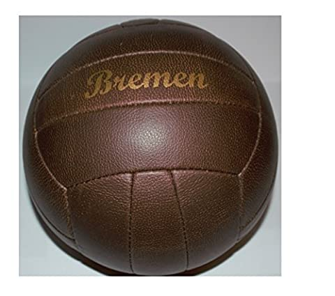 Football/Ball/Brown/Size 5/Retro/Nostalgia Retro Ball in leather look with studs and Golden Print Lettering