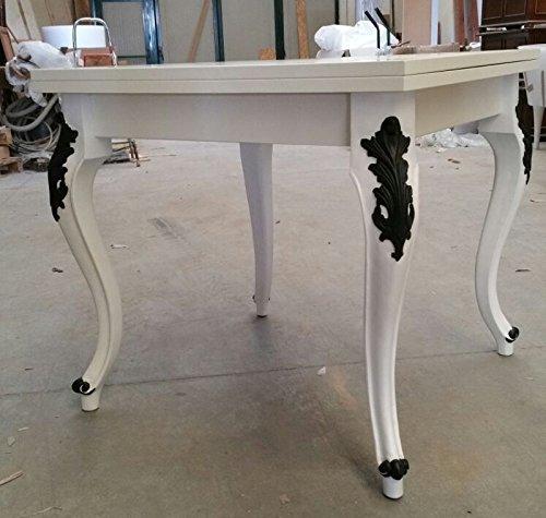 Table carré extensible blanc laqué pieds Frise Noir