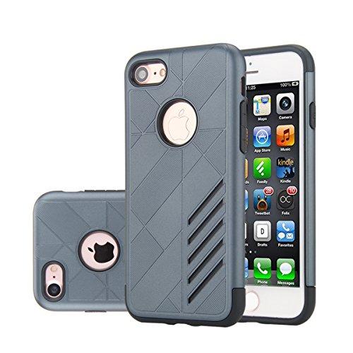 """MOONCASE iPhone 7 Coque, Combo Housse Hybride TPU +PC Etui Antichoc Anti Dérapant Robuste Protection Dual Layer d'Armure Lourde Case pour iPhone 7 4.7"""" Noir Navy"""