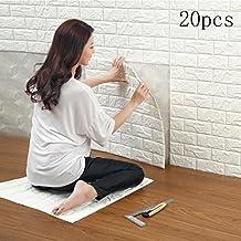 20 Hojas 3D Patrón de ladrillo Papel pintado By-S.A Autoadhesivo DIY PE Espuma Azulejo de la decoración de la pared 60*60 cm (20 Hojas, blanco)