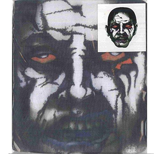 Accessoryo - Horror Rote-Augen-Druckkopf volles Gesicht Halloween-Maske Netz