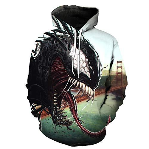 Imzoeyff Sudaderas con Capucha Unisex 3D Novedad Superhéroe Venom Chaqueta  Deportiva Sudaderas con Capucha Bolsillos Película 0299e96ff16a