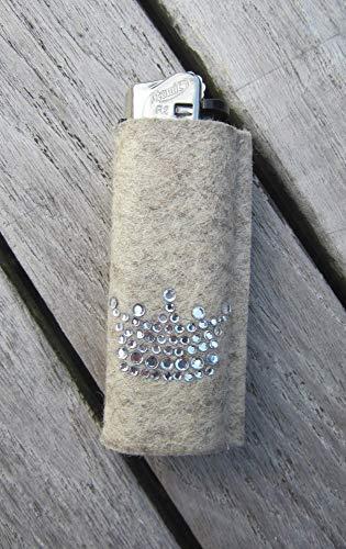 zigbaxx Feuerzeug-Hülle LITTLE CROWN für BIC Feuerzeuge und div. Einwegfeuerzeuge - Feuerzeughülle aus Woll-Filz mit Krönchen Krone aus Strass - Geschenk Geburtstag Weihnachten (Strass-feuerzeug-hülle)