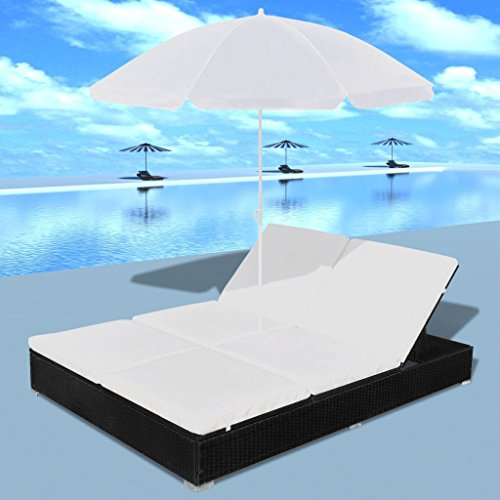 Festnight Chaise longue avec parasol Rotin synthétique pour détendre lire, musique ou sieste