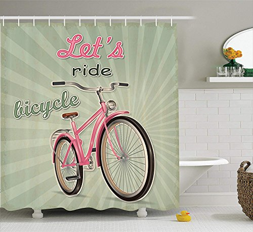 Shower Curtain Set, Retro Featured Pop Art Style Urban Dated Bike with Expanding Stripes Velocity Decorative, Bathroom Accessories, 72x72 inches, Green Pink ()