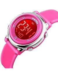 Resistente al agua reloj Digital de las niñas, niños deporte al aire libre tetera relojes coloridos luminiscente niños relojes de pulsera con alarma y cronómetro, color rosa