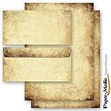 20-tlg. Motivpapier Komplett-Set ALTES PAPIER (Beidseitig) 10 Blatt Briefpapier + 10 passende Briefumschläge DIN LANG ohne Fenster