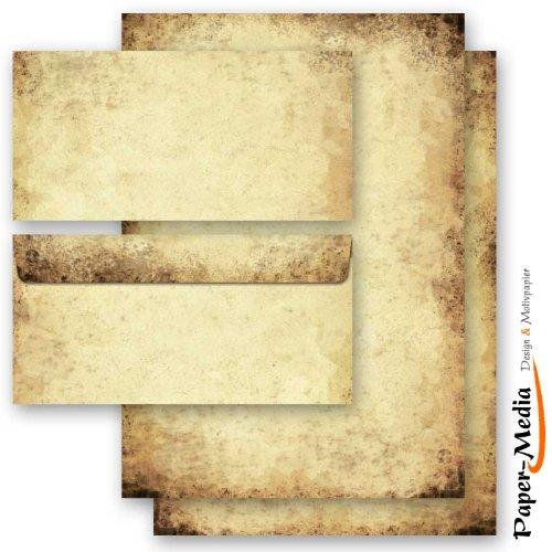 Set complet de 20 pièces VIEUX PAPIER 10 feuilles de papier à lettres et 10 enveloppes DIN LONG sans fenêtre