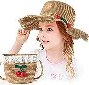 Czemo Sombrero de Paja Niñas Anti UV Gorra de Sol Chica y Bolsillo Set Alas Anchas Transpirable para Viaje Bea