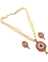 Jewar Mandi Pearls Fine Gold Plated Pendant Necklace 3505 With Earrings Set For Women/Girls