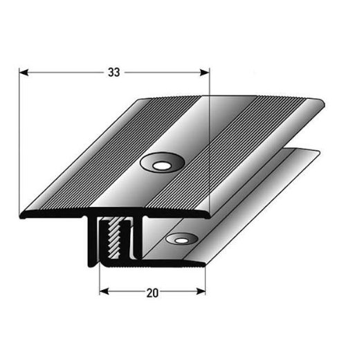 3 Meter (3 x 1 m) Übergangsprofil Laminat Parkett/ Übergangsleiste , Höhe 7 - 15 mm, 33 mm breit, 2-teilig, Alu eloxiert, gebohrt