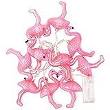 Lichterkette Flamingo, Plastik, Rosa, 165cm lang