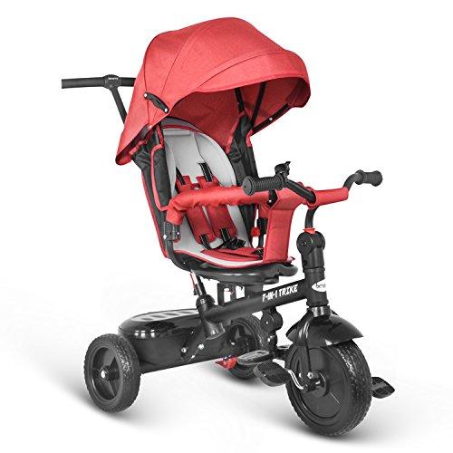 besrey 7 en 1 Triciclo con Pedales para Bebés con Asiento Giratorio Rojo
