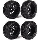 WEONE Neumáticos RC 1:10 Marco de rueda de goma de neumáticos para vehículos Negro Off-Road (paquete de 4)