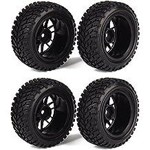 WEONE Neumáticos RC 1:16 Marco de rueda de goma de neumáticos para vehículos Negro Off-Road (paquete de 4)