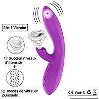 Orlupo 2 en 1 Rabbit Vibromasseur pour Femme Vibromasseurs Stimulateur Clitoris Succion avec 12 Niveaux d'intensité 12 Vibrant Mode Silencieux et Puissant,Masseur Clitoridien Stimulateur Imperméable