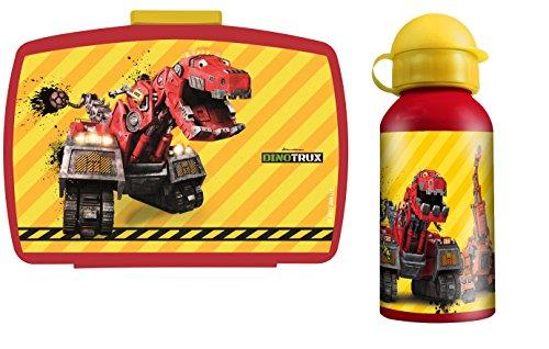 500 Laken (Dinotrux Pausenset mit Brotdose Lunchbox und Alu Trinkflasche im praktischen Set)