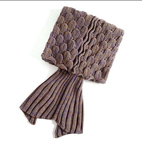 PIXNOR Meerjungfrau Decke Strickmuster Decke für Erwachsene Jugendliche (Khaki)
