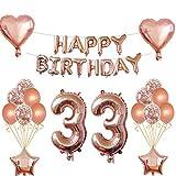 33 Compleanno Ragazza Decorazione Oro Rosa, trentatreesimo Compleanno Deco per Ragazza Ragazzo Buon Compleanno Ghirlanda stagnola Palloncino Palloncini coriandoli Palloncini Deco Compleanno Numero