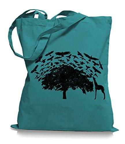 Ma2ca® Birds on Tee Afrika Giraffe Vögel Stoffbeutel Jutebeutel Tasche Tragetasche / Bag WM101 Emerald