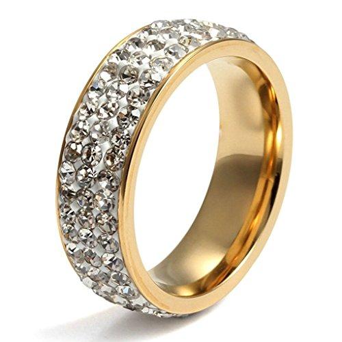 Gnzoe Schmuck, Edelstahl Ringe mit Zirkonia Kreis Rund 7mm Breit Gr.52(16.6) Gold Trauringe Heiratsantrag Band Für Paare