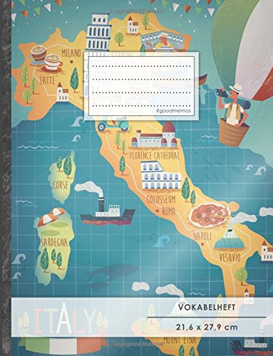 "VOKABELHEFT DIN A4 • 50+ Seiten, Soft Cover, Register, 2 Spalten, Erfolgs-Tacker, ""Italian Map"" • Original #GoodMemos Schulheft • Sprachen und Vokabeln leicht lernen, Lineatur 53"