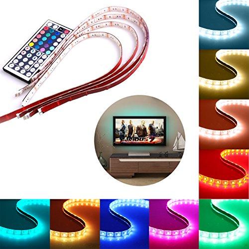 LED Streifen, Savvypixel USB LED Streifen Licht, 4x50cm 5050 RGB Farbwechsel TV Hintergrund Monitor Beleuchtung LED Stripes Stimmungsbeleuchtung mit DC 5V USB Anschluss und 44 Tasten IR Fernbedienung
