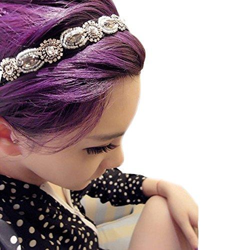 Ifyou elegante da donna ragazze moda stile boho a mano cristallo STRASS fascia elastica da testa con perline del braccialetto della fascia