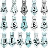 Deanyi Baby Monat Milestone Krawatte Aufkleber Alter Meilensteine ??für 12 Monate Krawatte Monat Baby Aufkleber Grün Grau 16Stk / Set Baby Produkt