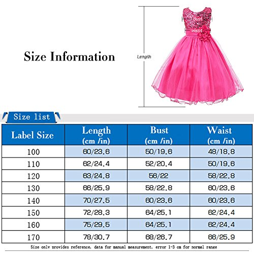 Free Fisher Mädchen Pailletten Kleid Blumenkleid, Grün, Gr.134/140(Herstellergröße: 140cm) - 3