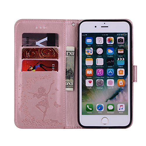 Custodia iPhone 7 Plus, iPhone 8 Plus Cover Portafoglio, SainCat Custodia in Pelle Cover per iPhone 7/8 Plus, 2 in 1 Ultra Sottile Anti-Scratch Book Style Custodia Morbida Cover Protettiva Cover Ultra Oro Rosa