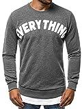 OZONEE Herren Sweatshirt Pullover Aufdruck U-Neck Täglichen Streetwear Sportswear Langarmshirt B/181905