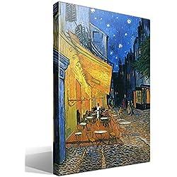 Canvas lienzo bastidor Terraza de un Café en la Plaza Forum de Arlés por la Noche de Vincent Willem van Gogh - Ancho: 70cm - Alto: 95cm - Bastidor: 3cm - Imagen alta resolución - Impresión sobre Lienzo de Algodón 100% - Bastidor de madera 3x3cm - reproduccion digital de obras de arte - Cuadro de calidad superior - Fabricado en España